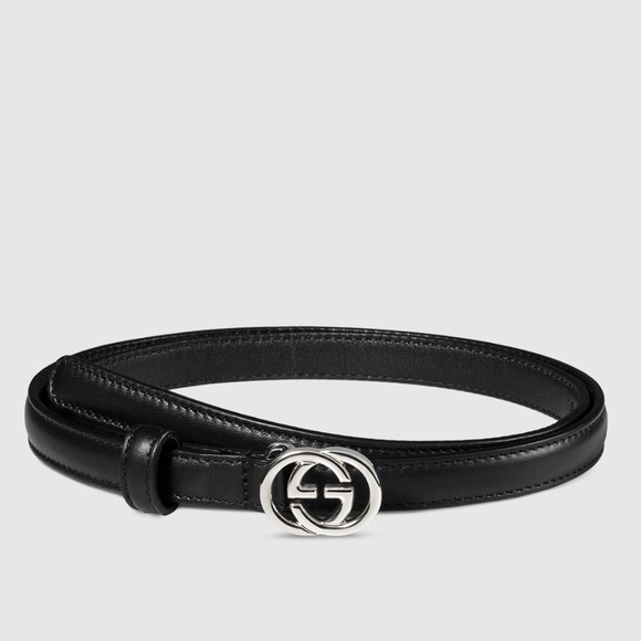 f4808125a57 Gucci Black Skinny Interlocking GG Belt 90